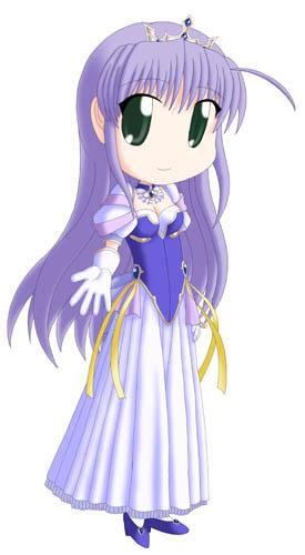 『夜明け前より瑠璃色な』よりフィーナ・ファム・アーシュライト 月王国のお姫様です。  去年にもドレス姿は描いてますので、今回はリテイクですね(苦笑)。 イメージ的にはアレで月まで跳ばされた後のシーンです。
