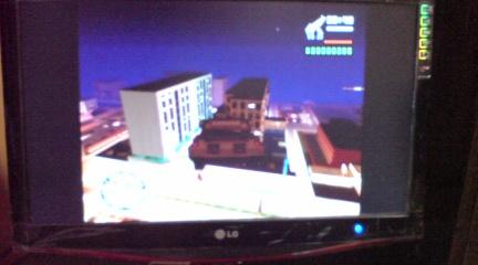 PS2のソフト『GTA SA』を起動させてみた。 Rhinoっていう戦車が空飛んでるとか(w)